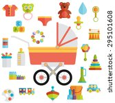 baby toys flat icon set vector | Shutterstock .eps vector #295101608