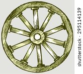 Wooden Wheel Of The Trolley....