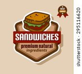 flat color sandwich icon.... | Shutterstock .eps vector #295116620