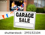 garage sale sign on the front... | Shutterstock . vector #295152104
