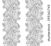 seamless monochrome floral... | Shutterstock . vector #295161743