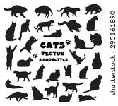 Stock vector collection of vector cats silhouettes 295161890