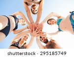 group of friends in a swimsuit... | Shutterstock . vector #295185749
