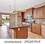 Stock photo lovely kitchen with bar island and hardwood floor 295207919