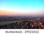 dusk over city - stock photo