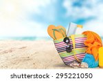 vacations  summer  beach bag. | Shutterstock . vector #295221050