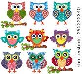 Set Of Nine Colorful Ornamenta...