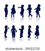 kids silhouettes | Shutterstock .eps vector #29522725