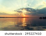 retro effect of summer sunset... | Shutterstock . vector #295227410