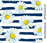 Stock vector daisies on the striped nautical background watercolor seamless pattern with wild summer flowers 295232213
