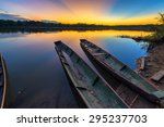 dramatic sunset in the amazon... | Shutterstock . vector #295237703