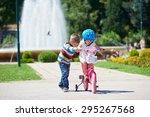happy childrens outdoor  ... | Shutterstock . vector #295267568