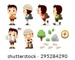 traveller man trekking man | Shutterstock .eps vector #295284290