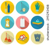 icons cleaning the kitchen set  ... | Shutterstock .eps vector #295292408