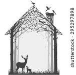 silhouette of forest wildlife... | Shutterstock .eps vector #295297898