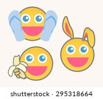 joyful cartoon smiley set