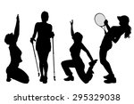 vector silhouettes of women on... | Shutterstock .eps vector #295329038