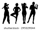 vector silhouettes of women on... | Shutterstock .eps vector #295329044