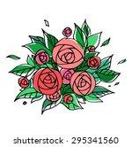 bouquet of peonies.illustration ... | Shutterstock .eps vector #295341560