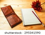 notebook and pencil prepared... | Shutterstock . vector #295341590