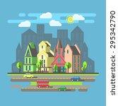 flat design  urban landscape ... | Shutterstock .eps vector #295342790