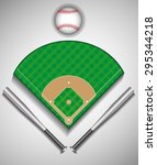 set of baseball bat  ball ... | Shutterstock .eps vector #295344218