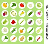 vegetables icons set on flat... | Shutterstock .eps vector #295350788