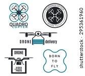 vector set of drone labels ...   Shutterstock .eps vector #295361960