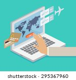 person booking his airline...   Shutterstock .eps vector #295367960