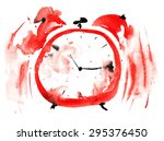 crazy red alarm clock  painted... | Shutterstock . vector #295376450