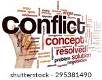 Small photo of Conflict word cloud concept
