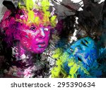 psychedelic image of a mask  on ... | Shutterstock . vector #295390634