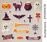 set of halloween ribbons and...   Shutterstock .eps vector #295399478