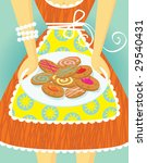 baker,bow,bracelet,candy,cartoon,chef,cleavage,close,colorful,cookies,crop,cute,delicious,dessert,dress