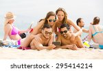 smiling friendly people making... | Shutterstock . vector #295414214