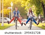 happy funny young couple... | Shutterstock . vector #295431728
