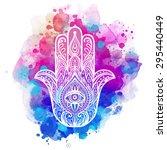 ornate hand drawn hamsa.... | Shutterstock .eps vector #295440449