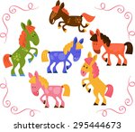 set of horses in action  stand  ... | Shutterstock .eps vector #295444673