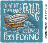 graphic poster with airship and ... | Shutterstock .eps vector #295444910