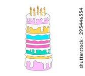 tall hand drawn birthday cake... | Shutterstock .eps vector #295446554