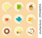 tea time flat design icons set. ... | Shutterstock .eps vector #295448594