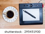 omputer gadget is in the office ... | Shutterstock . vector #295451930