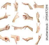 collage of  hands showing... | Shutterstock . vector #295457294