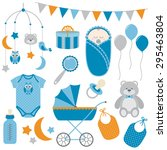 baby boy set | Shutterstock .eps vector #295463804