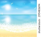 sand beach at sunset time.... | Shutterstock .eps vector #295483694