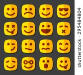 emotional square yellow faces... | Shutterstock . vector #295484804