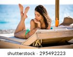 smiling beautiful woman... | Shutterstock . vector #295492223