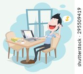 cartoon freelance designer... | Shutterstock .eps vector #295509419