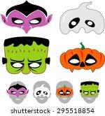 kids halloween masks set | Shutterstock .eps vector #295518854