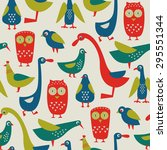 seamless pattern with birds.... | Shutterstock .eps vector #295551344